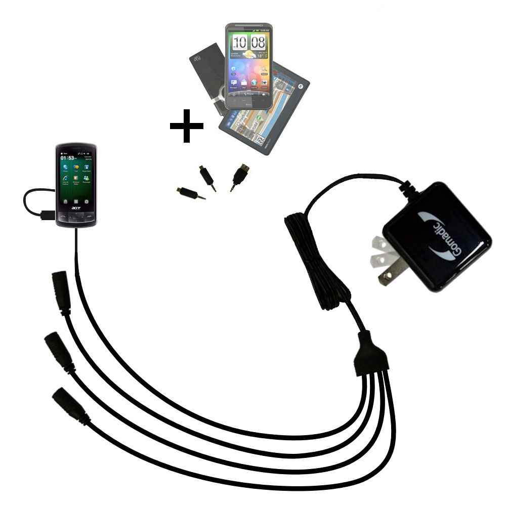 Quad output Wall Charger includes tip for the Acer beTouch E200 E210