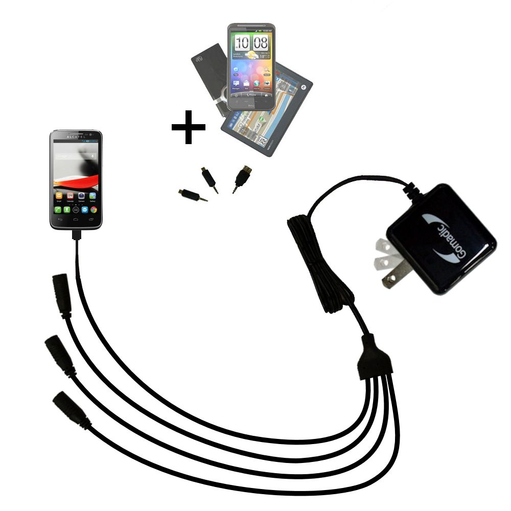 Quad output Wall Charger includes tip for the Alcatel One Touch Fierce