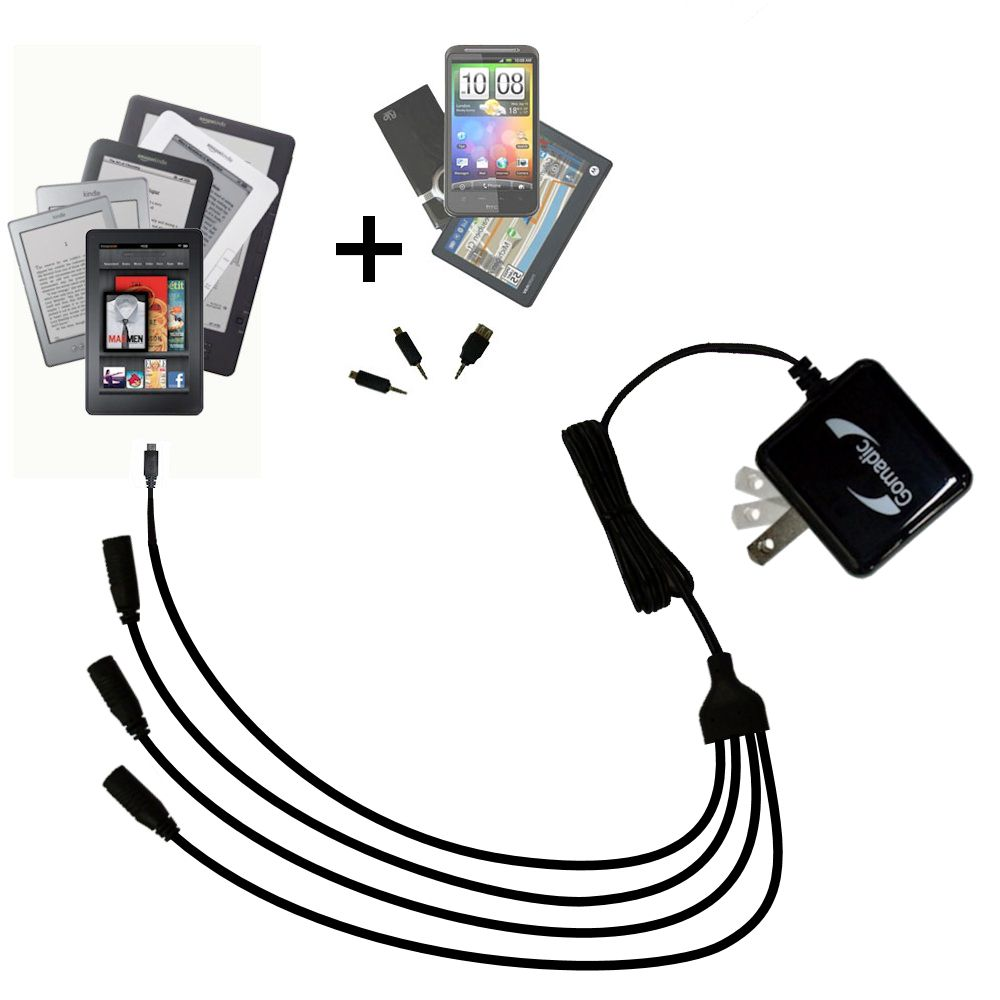 Quad output Wall Charger includes tip for the Amazon Kindle Fire HD / HDX / DX / Touch / Keyboard / WiFi / 3G