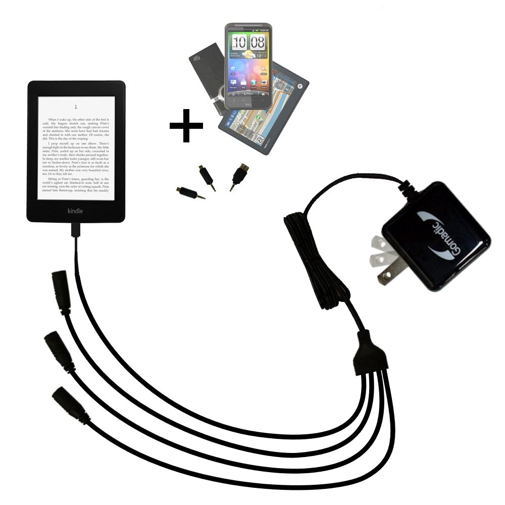 Quad output Wall Charger includes tip for the Amazon Kindle Paperwhite