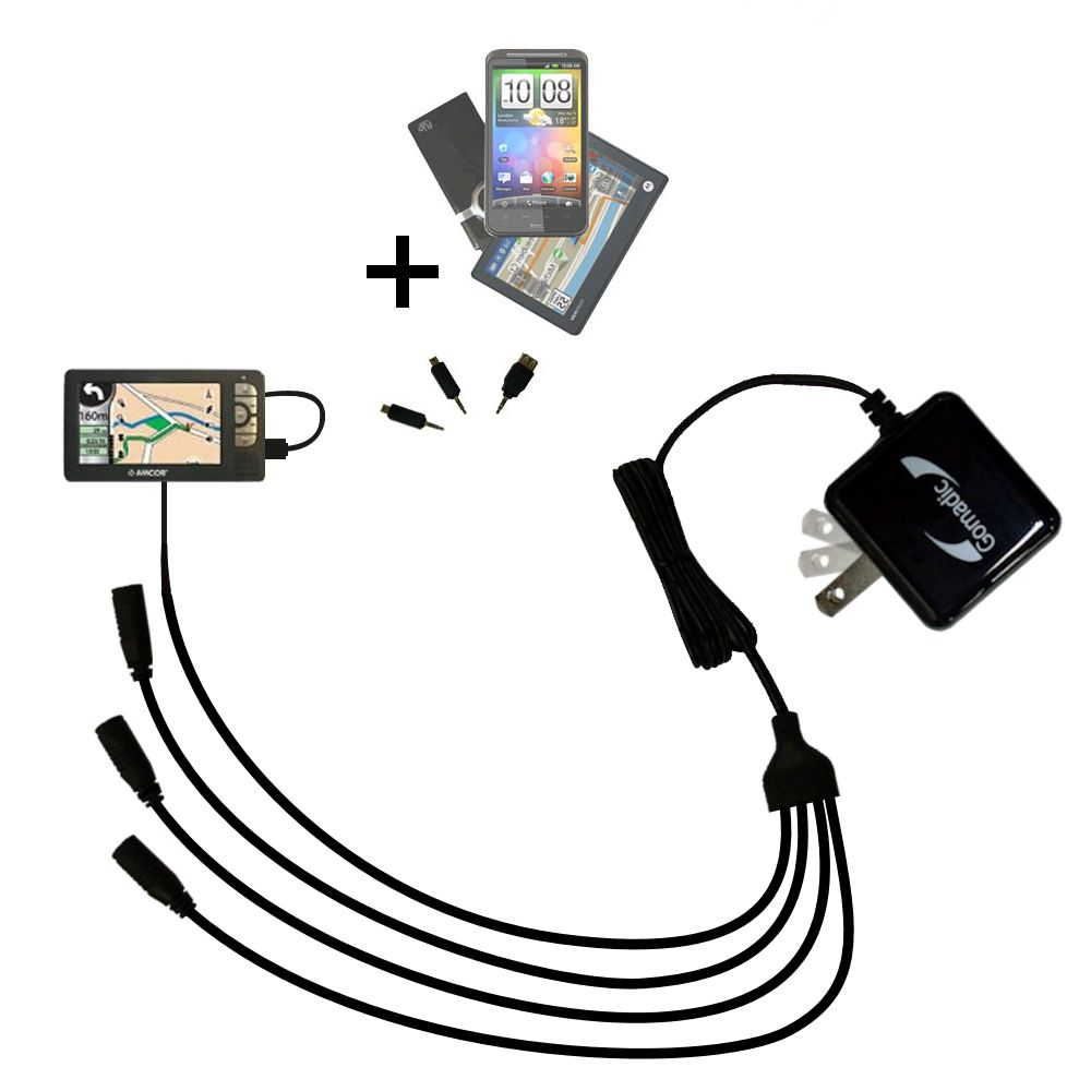 Hot Sync and Charge Straight USB cable for the Amcor Navigation GPS 5600 Built with Gomadic TipExchange Technology Charge and Data Sync with the same cable