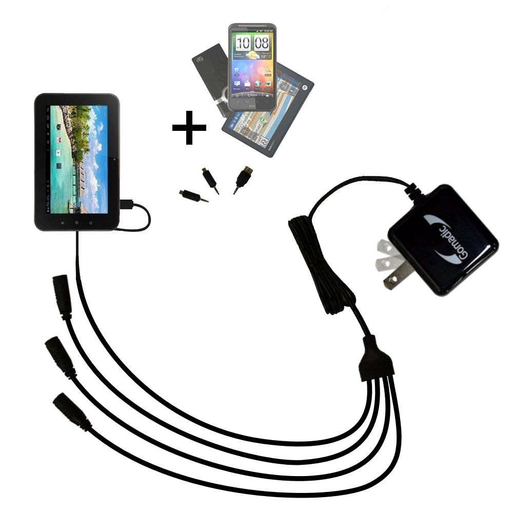 Quad output Wall Charger includes tip for the Android Allwinner A13