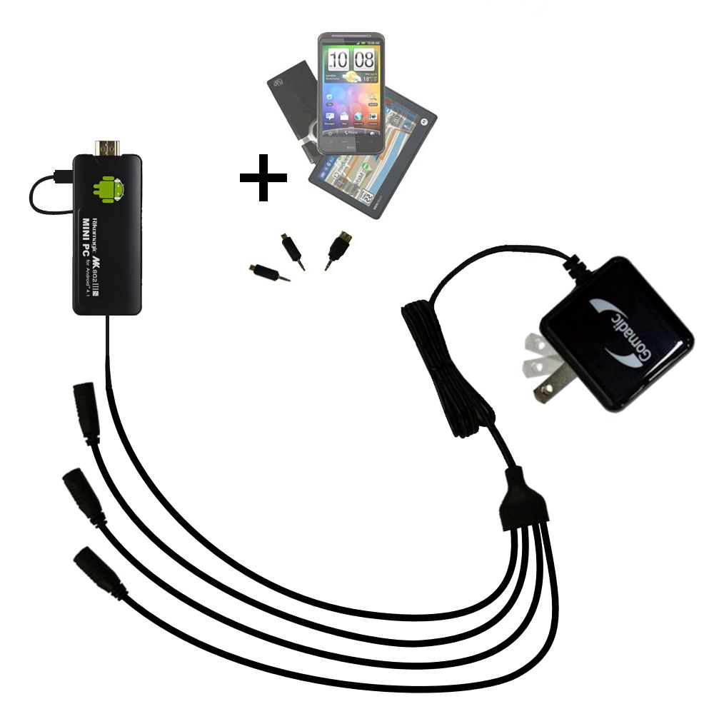 Quad output Wall Charger includes tip for the Android MK802 Plus