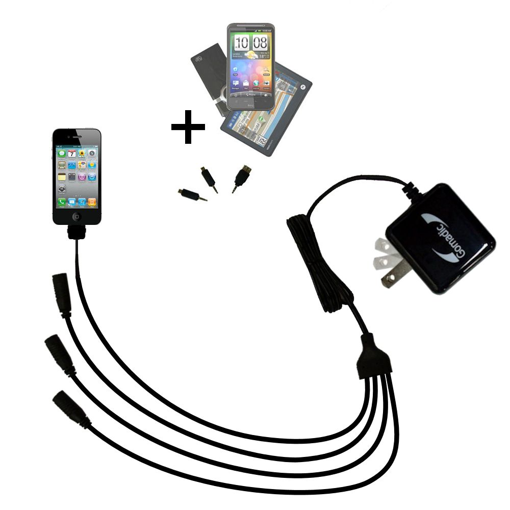 Quad output Wall Charger includes tip for the Apple iPhone 4
