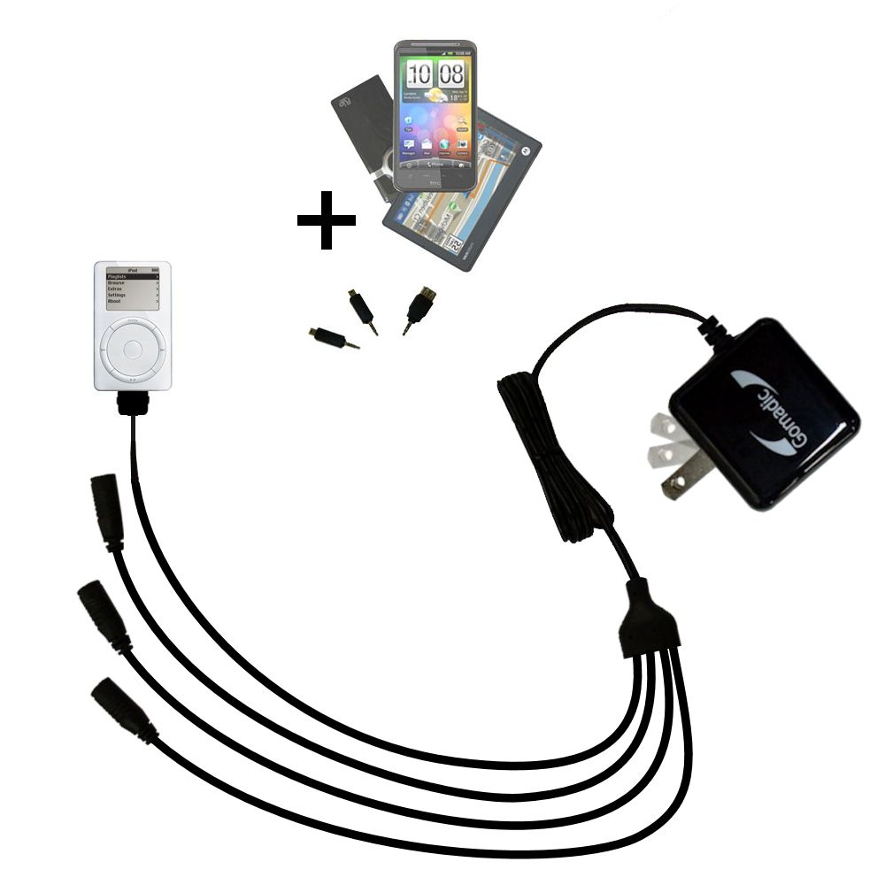 Quad output Wall Charger includes tip for the Apple iPod 5G Video (30GB)