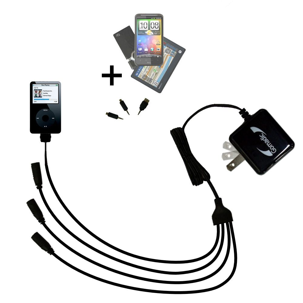 Quad output Wall Charger includes tip for the Apple iPod Photo (30GB)