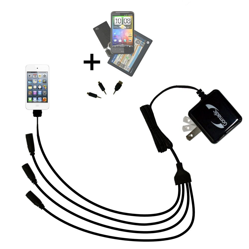 Quad output Wall Charger includes tip for the Apple iPod touch