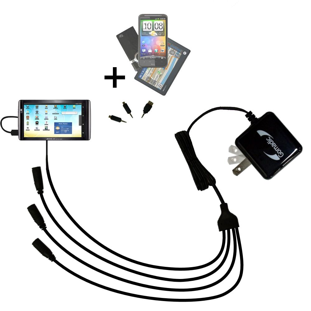 Quad output Wall Charger includes tip for the Archos 101 Internet Tablet