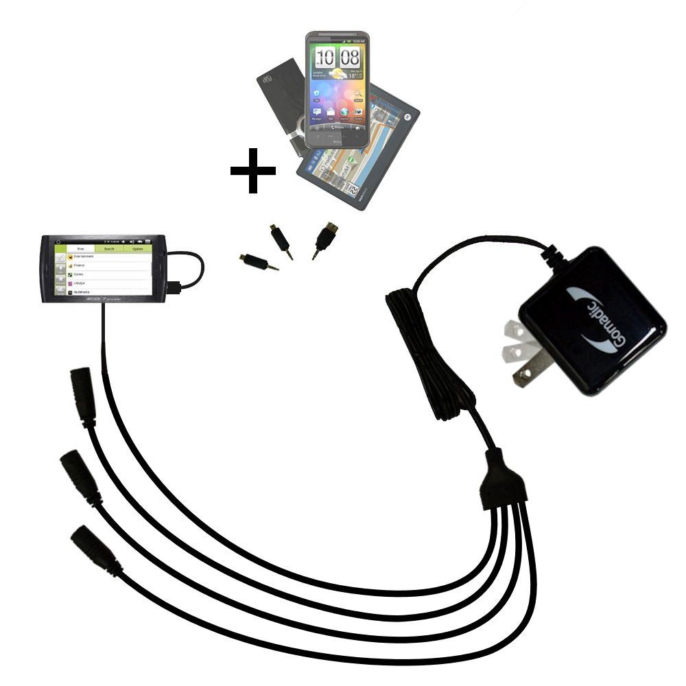 Quad output Wall Charger includes tip for the Archos 7 Home Tablet with Android