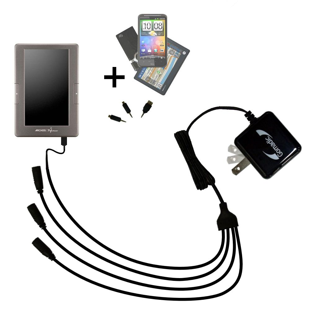 Quad output Wall Charger includes tip for the Archos 70c eReader