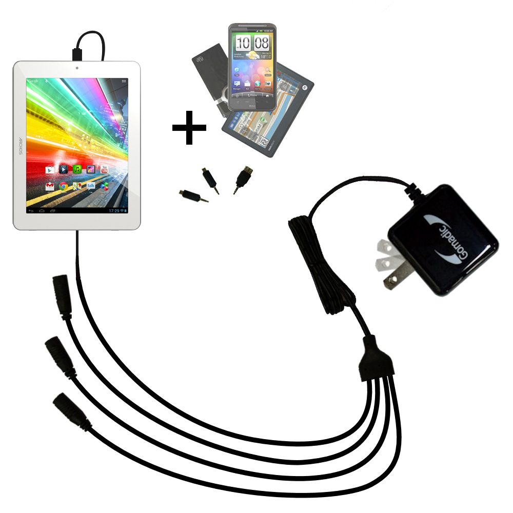 Quad output Wall Charger includes tip for the Archos 80b Platinum