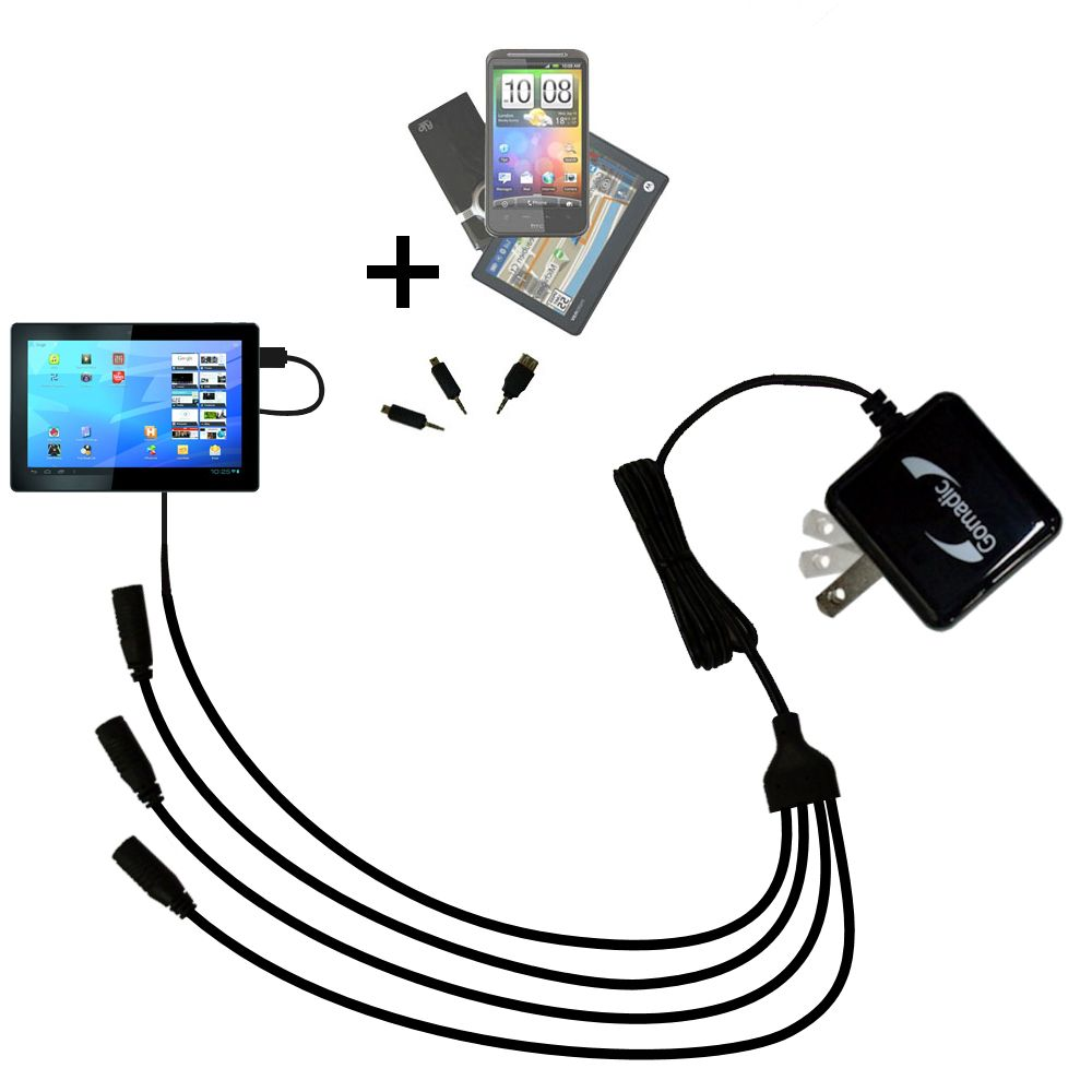 Quad output Wall Charger includes tip for the Archos Familypad 2