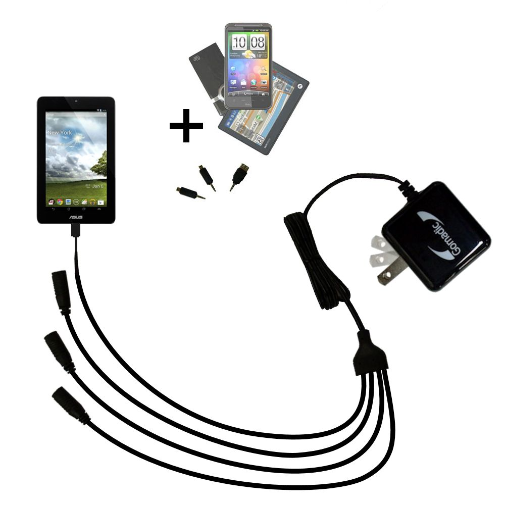 Quad output Wall Charger includes tip for the Asus FonePad