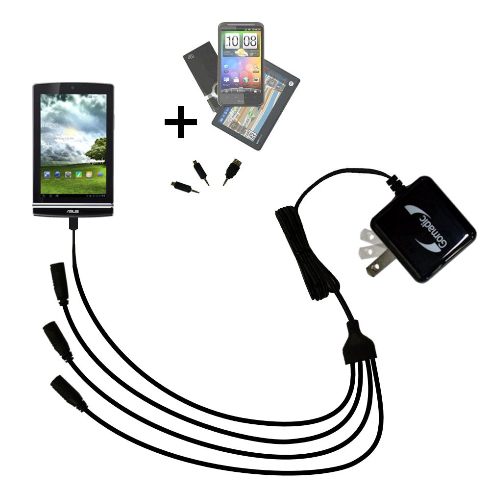 Quad output Wall Charger includes tip for the Asus MeMo Pad ME171V