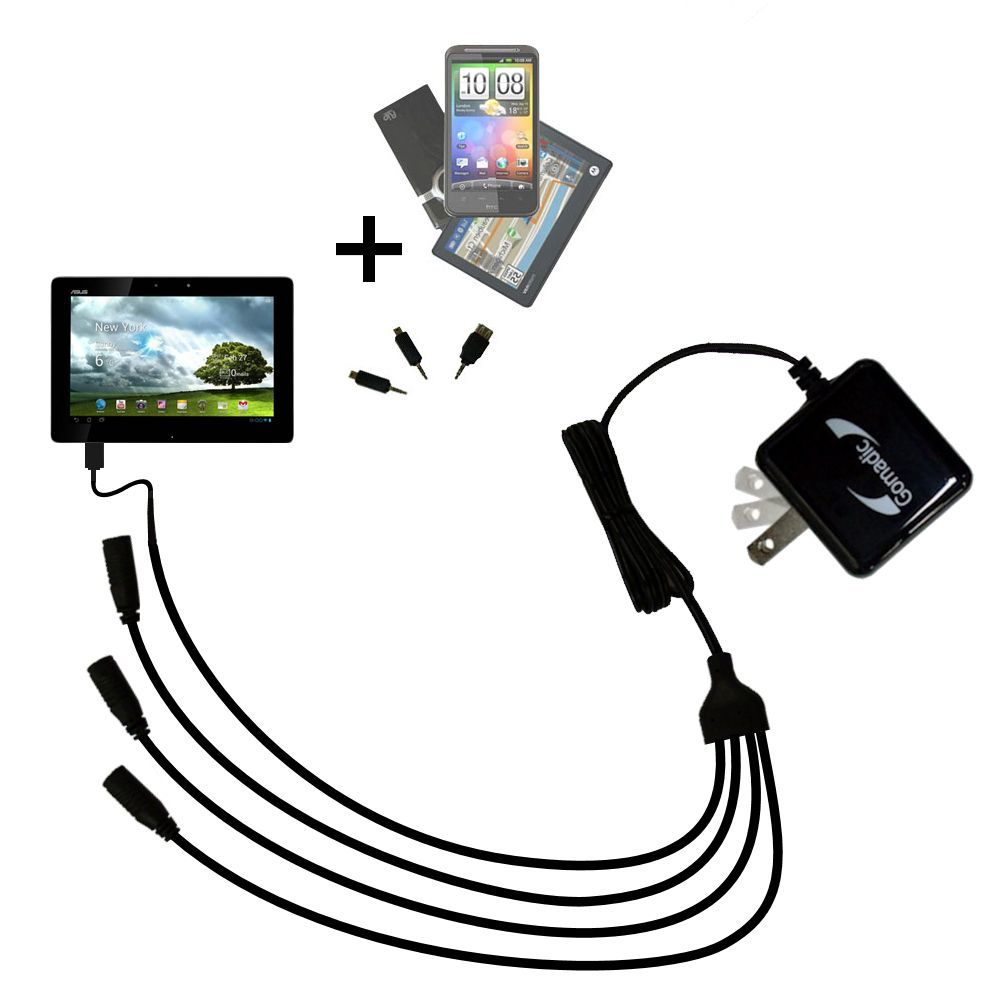 Quad output Wall Charger includes tip for the Asus MeMo Pad Smart 10