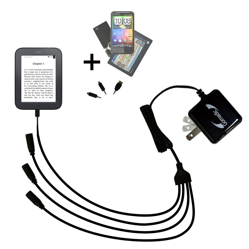 Quad output Wall Charger includes tip for the Barnes and Noble nook Original eBook eReader