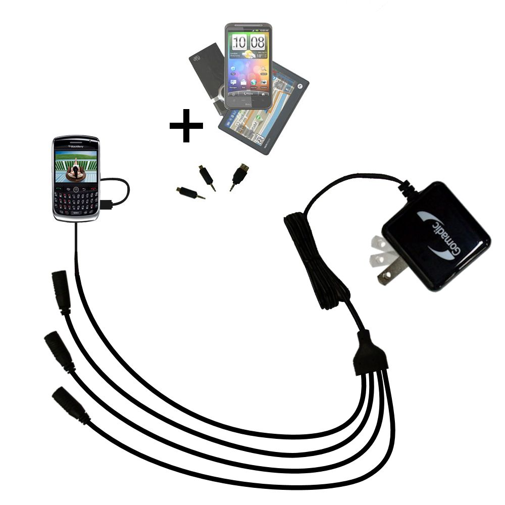 Quad output Wall Charger includes tip for the Blackberry 8900