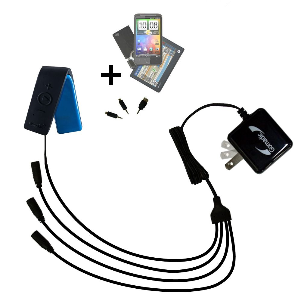 Quad output Wall Charger includes tip for the BlueAnt RIBBON