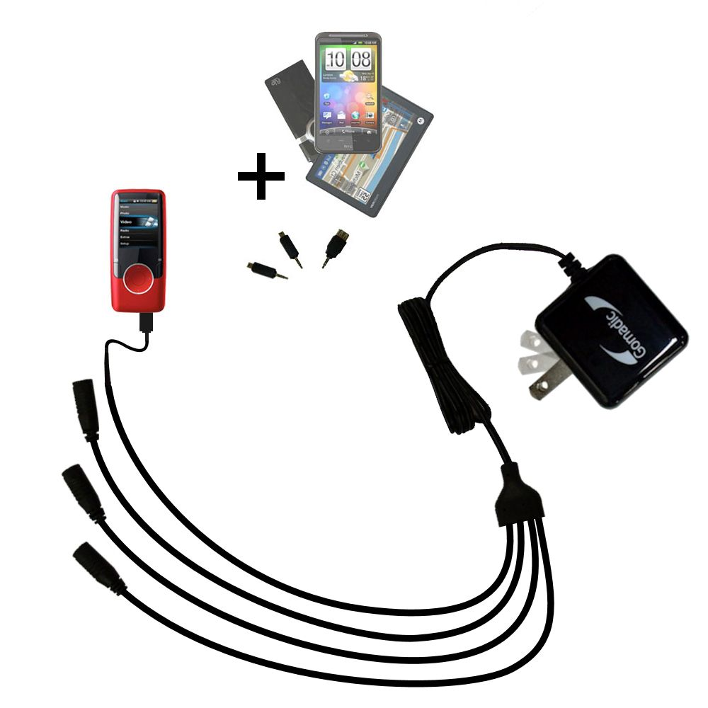 Quad output Wall Charger includes tip for the Coby MP620 Video MP3 Player