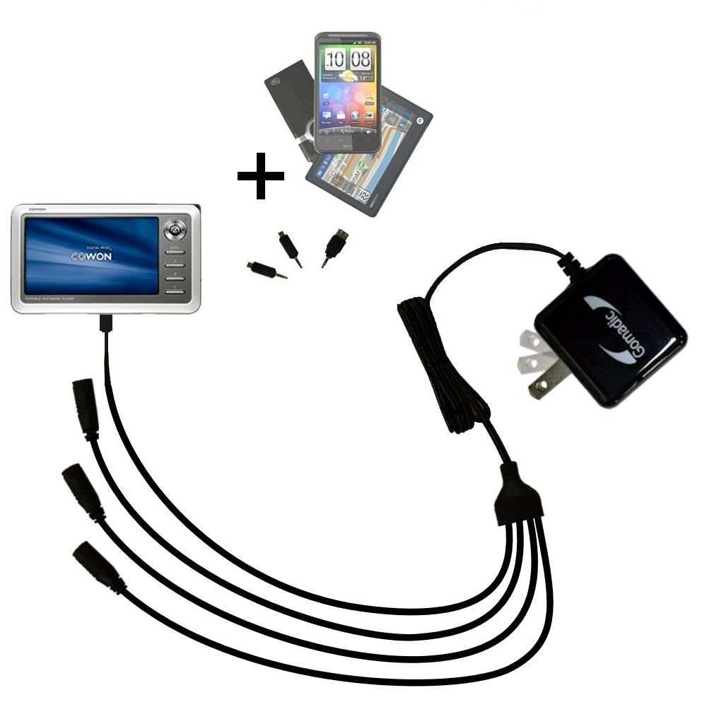 Quad output Wall Charger includes tip for the Cowon iAudio A2 Portable Media Player