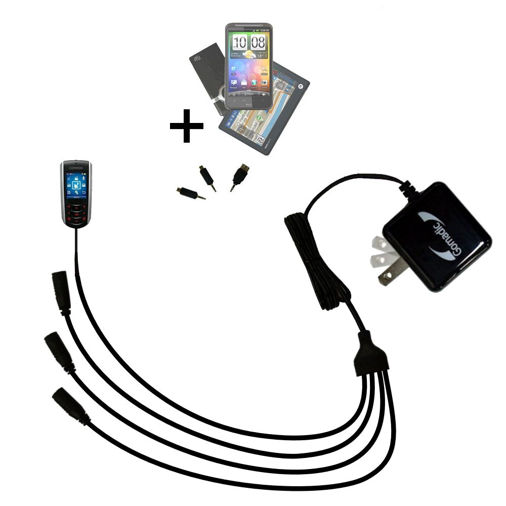 Quad output Wall Charger includes tip for the Cowon iAudio F2