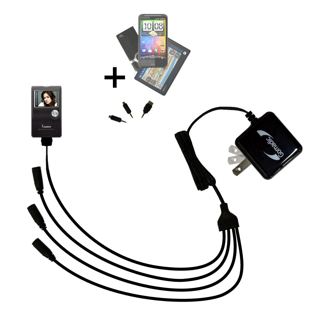 Quad output Wall Charger includes tip for the Cowon iAudio X5