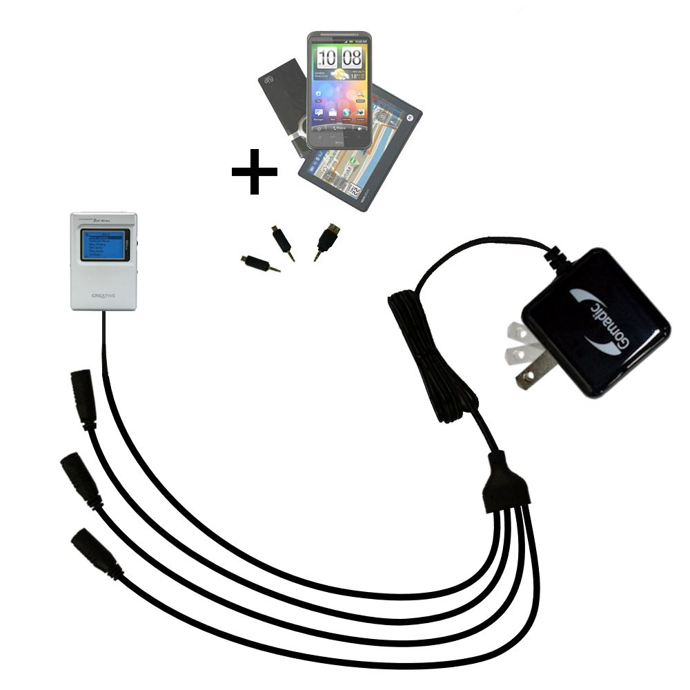 Quad output Wall Charger includes tip for the Creative Jukebox Zen NX