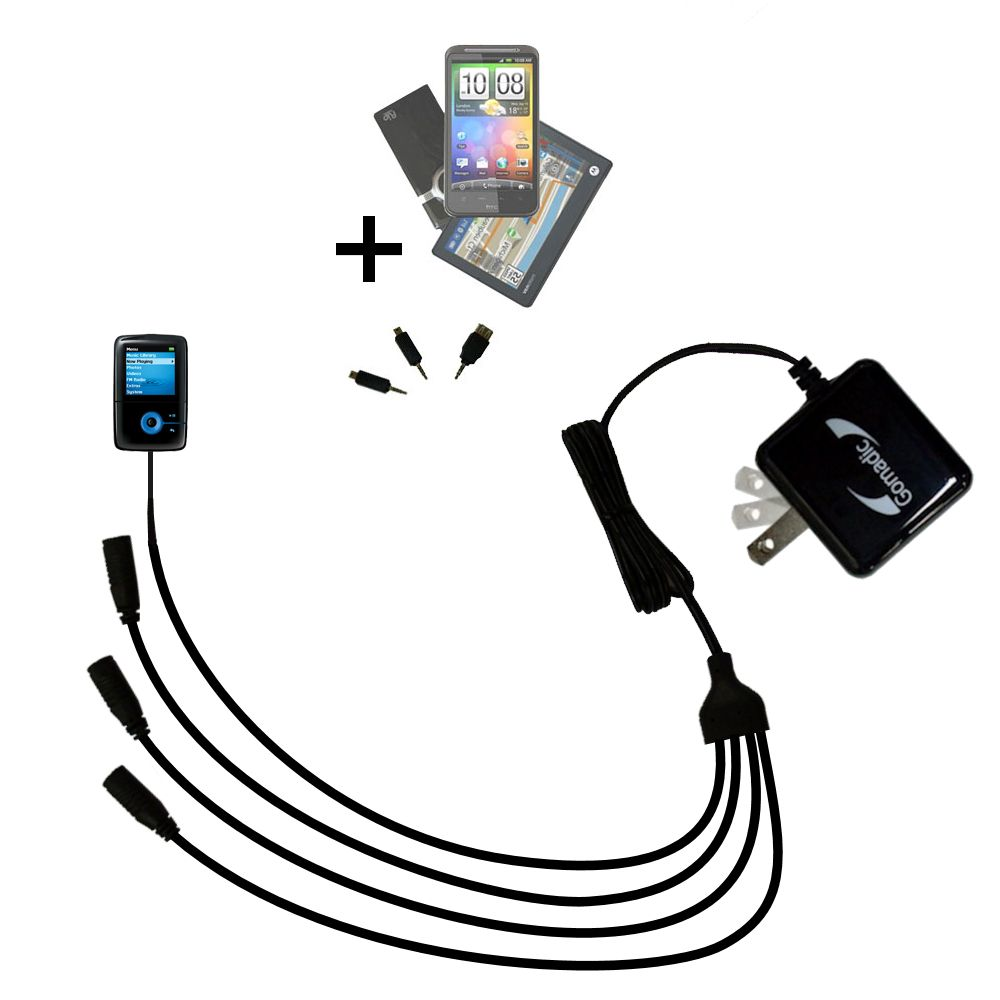 Quad output Wall Charger includes tip for the Creative Zen V Plus