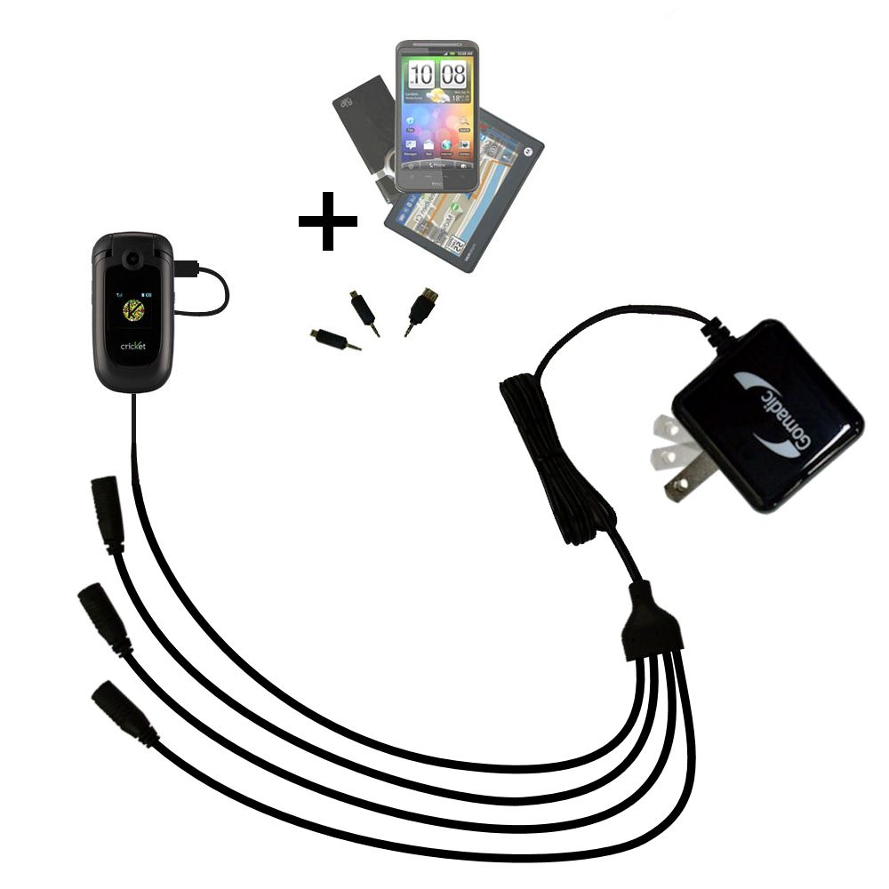 Two functions in one unique Gomadic TipExchange enabled cable USB Data Hot Sync Straight Cable for the Cricket CAPTR II with Charge Function