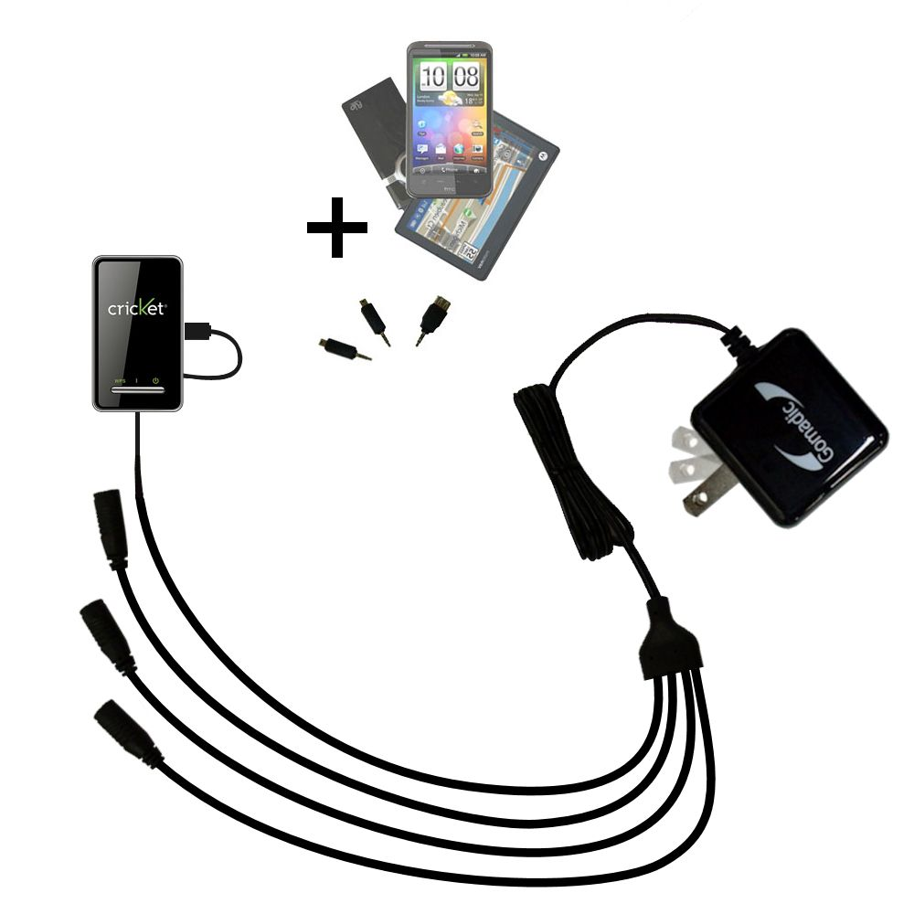 Quad output Wall Charger includes tip for the Cricket Crosswave WiFi Hotspot