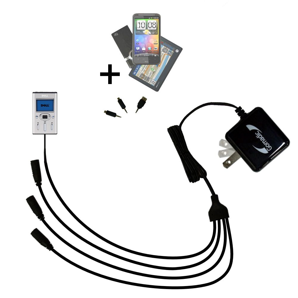 Quad output Wall Charger includes tip for the Dell Pocket DJ 20GB 30GB