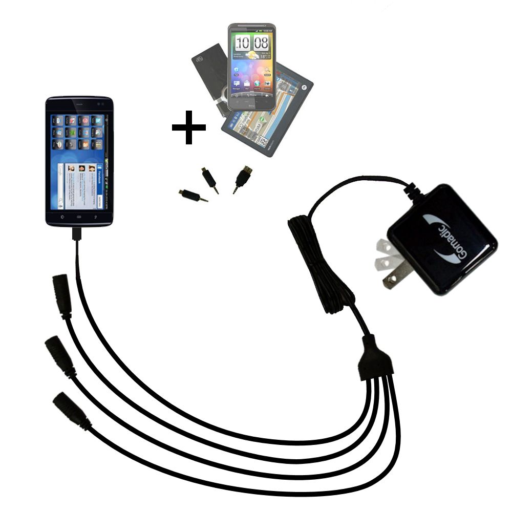 Quad output Wall Charger includes tip for the Dell Streak 5
