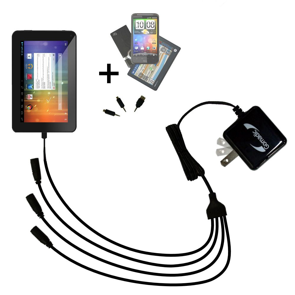 Quad output Wall Charger includes tip for the Double Power DOPO EM63 7 inch tablet