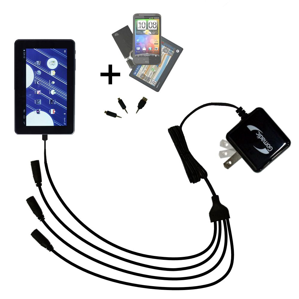 Quad output Wall Charger includes tip for the Double Power M7088 7 inch tablet