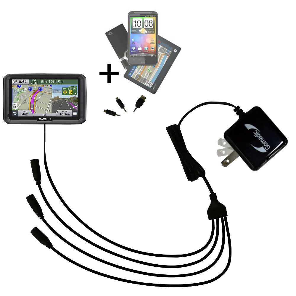 Quad output Wall Charger includes tip for the Garmin dezl 570 LMT