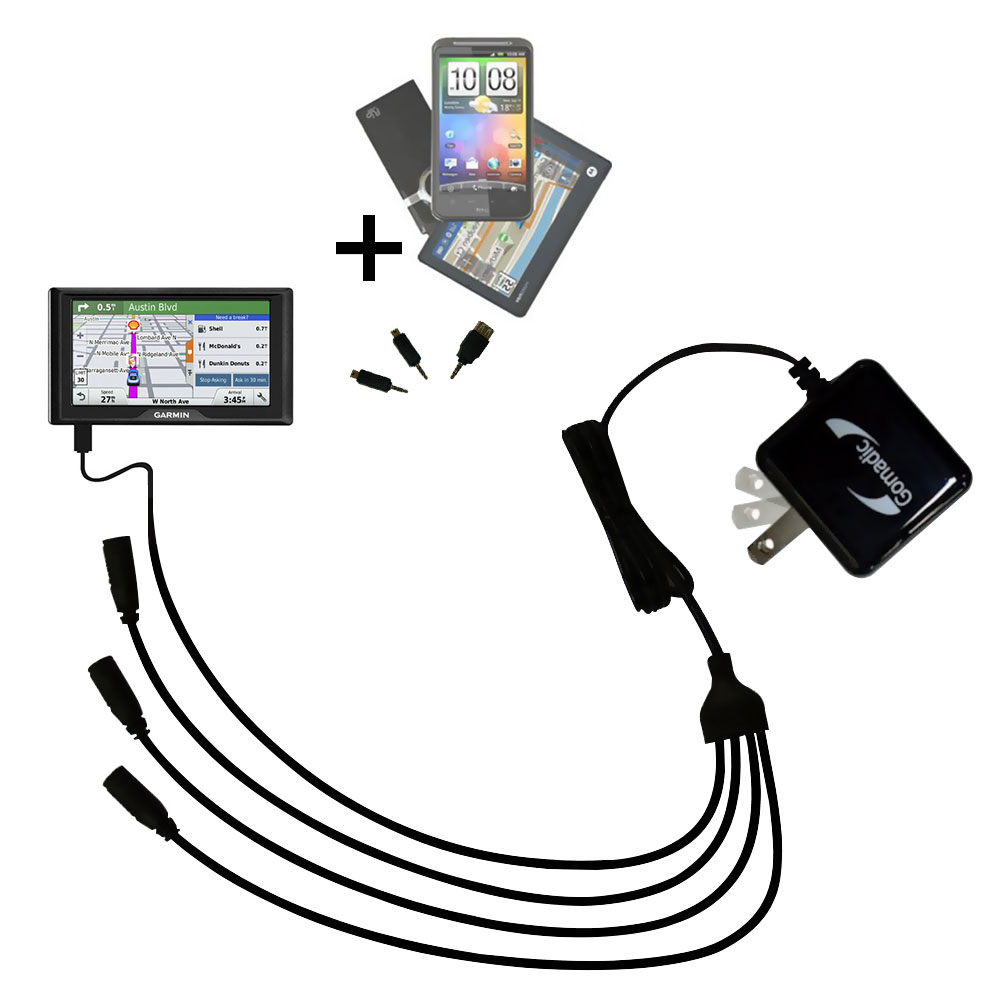 Quad output Wall Charger includes tip for the Garmin Drive 51 / 61