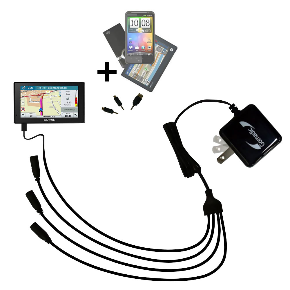 Quad output Wall Charger includes tip for the Garmin DriveAssist 51-LMT