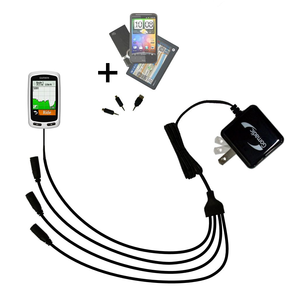 Quad output Wall Charger includes tip for the Garmin Edge 1000
