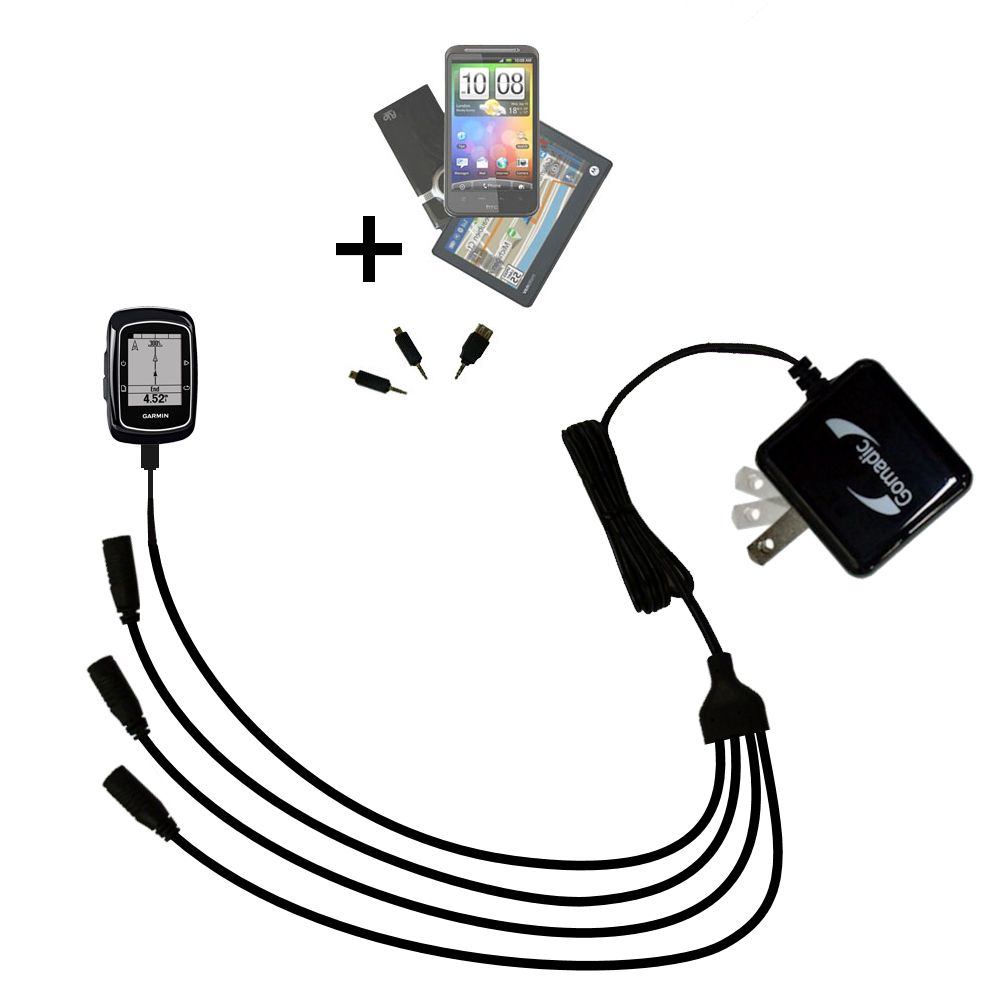 Quad output Wall Charger includes tip for the Garmin EDGE 200