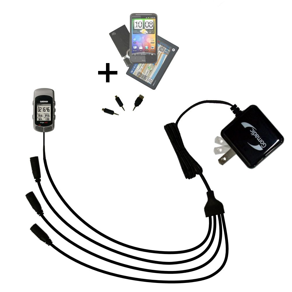 Quad output Wall Charger includes tip for the Garmin Edge 305