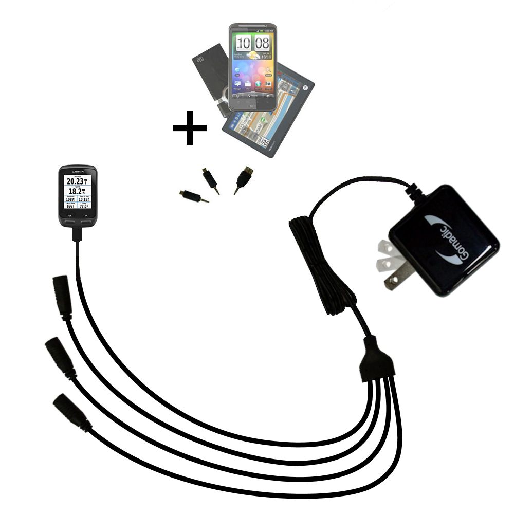 Quad output Wall Charger includes tip for the Garmin EDGE 510