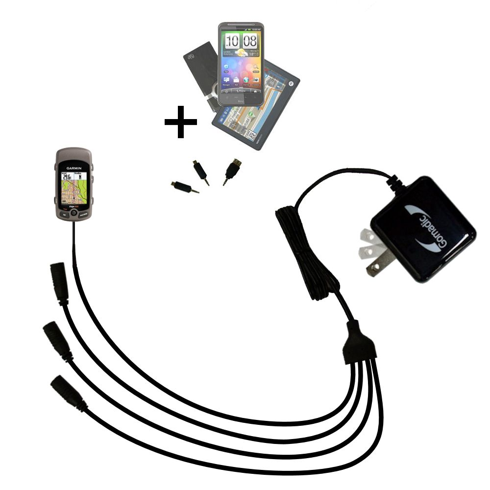Quad output Wall Charger includes tip for the Garmin Edge 605