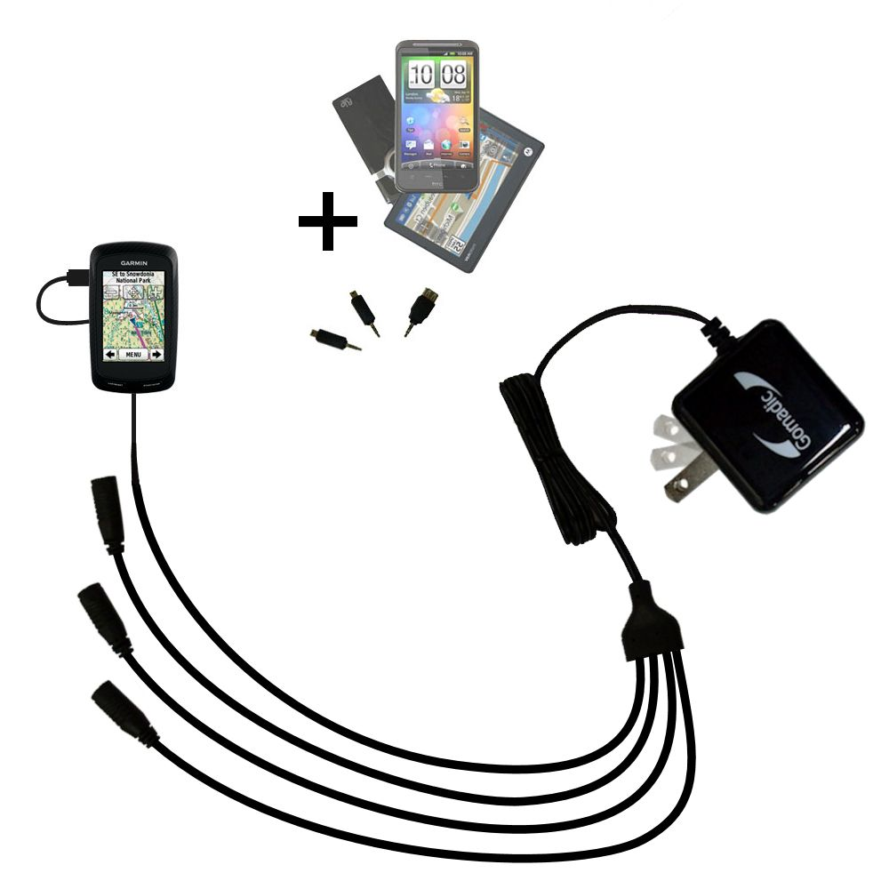 Quad output Wall Charger includes tip for the Garmin Edge 800