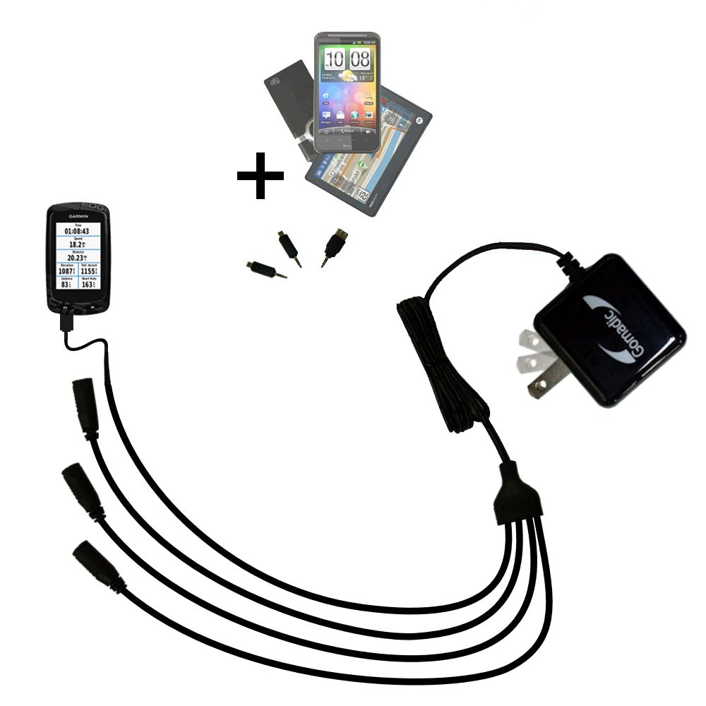 Quad output Wall Charger includes tip for the Garmin EDGE 810