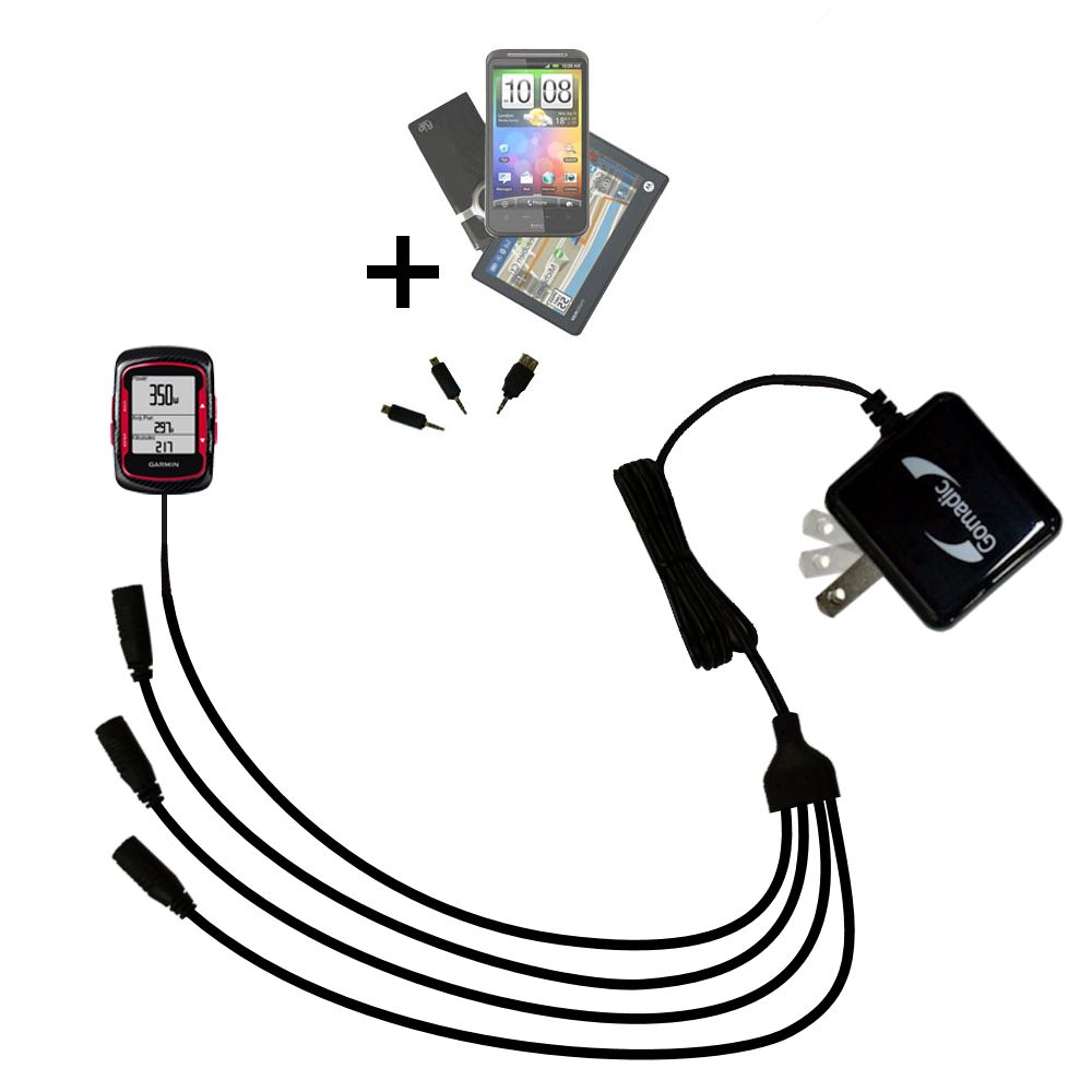 Quad output Wall Charger includes tip for the Garmin Edge