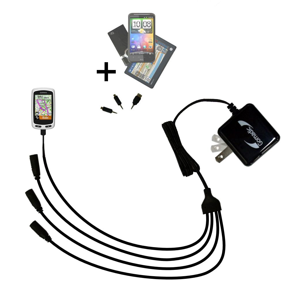 Quad output Wall Charger includes tip for the Garmin EDGE Touring Plus