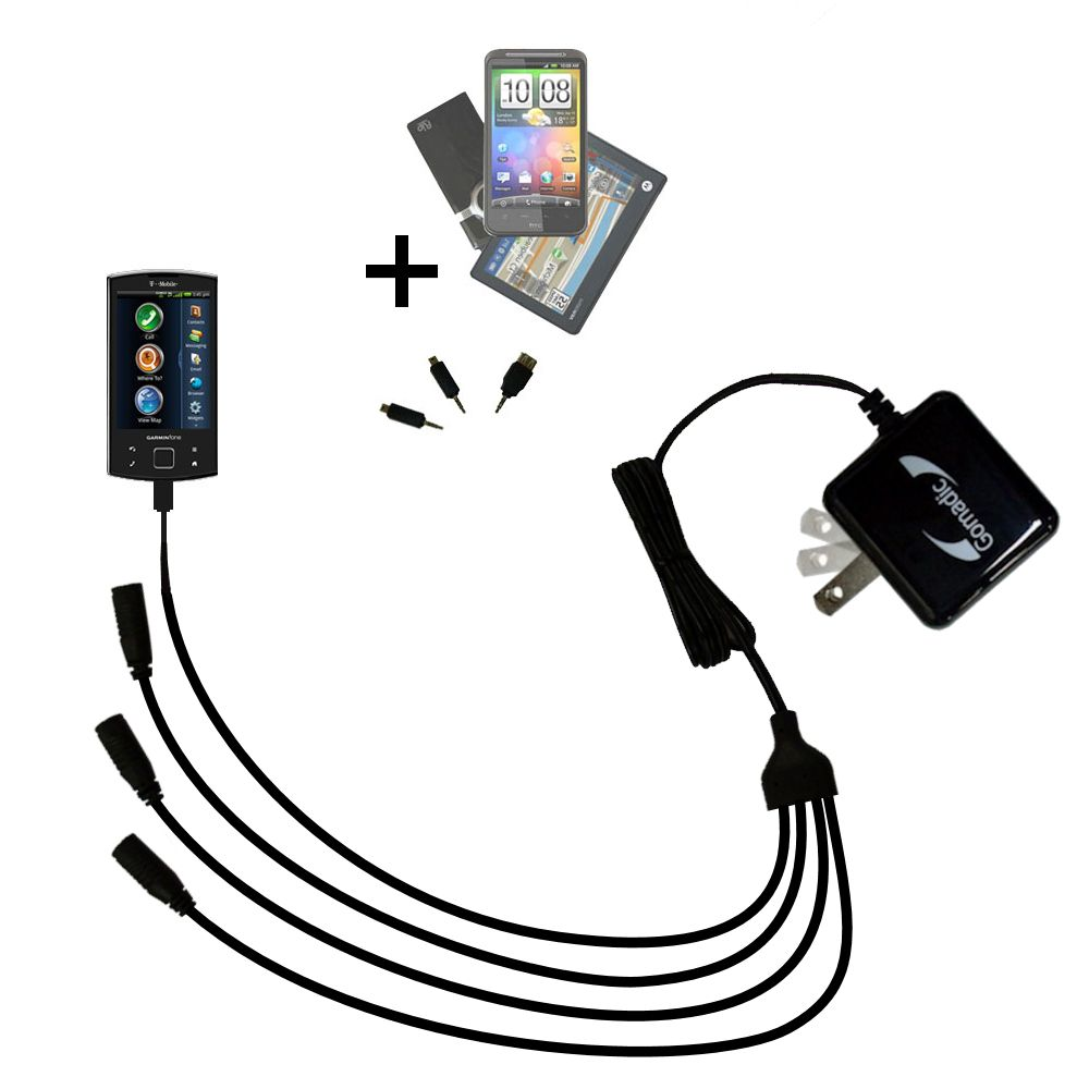 Quad output Wall Charger includes tip for the Garmin Garminfone