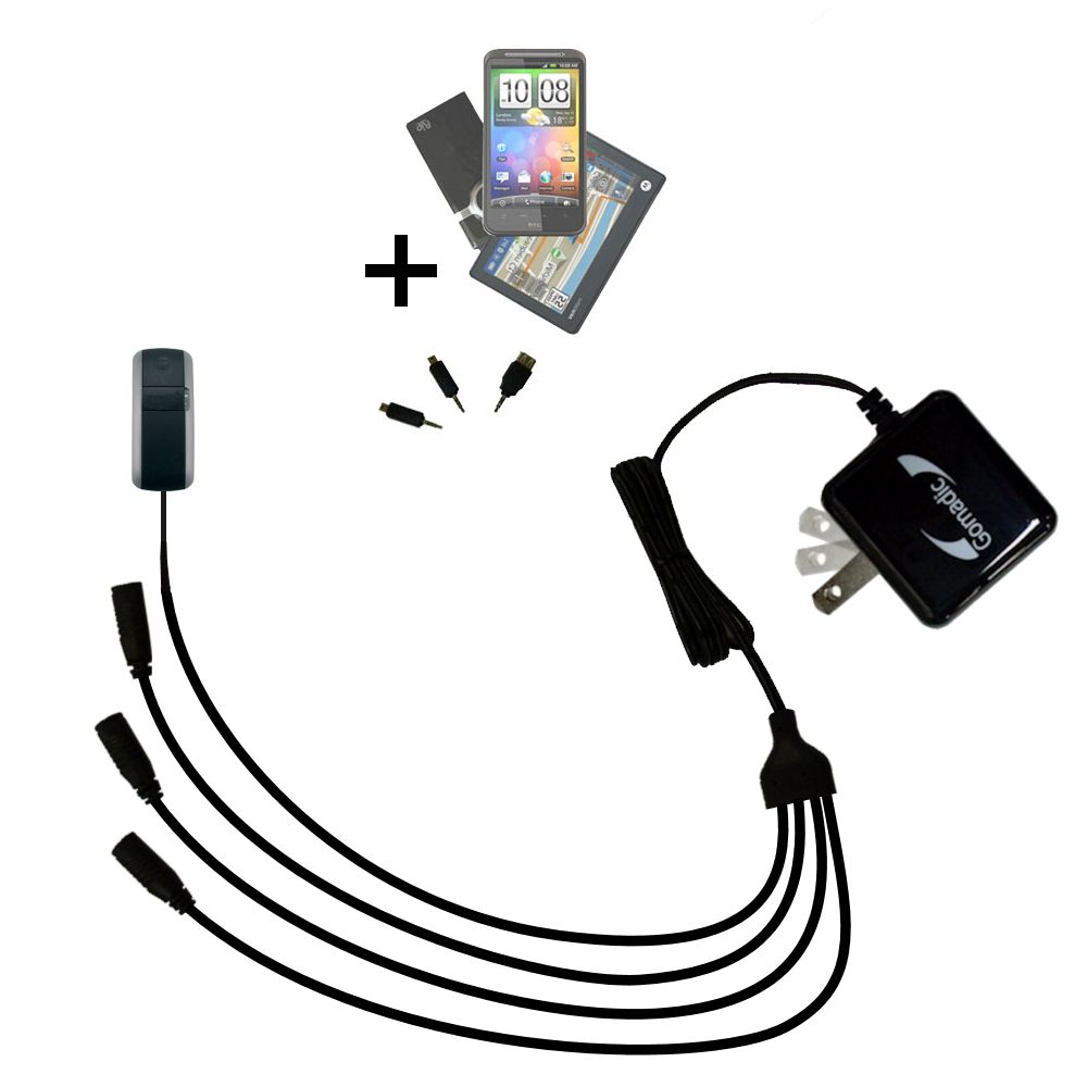 Quad output Wall Charger includes tip for the Garmin GTU 10 Alpha Astro