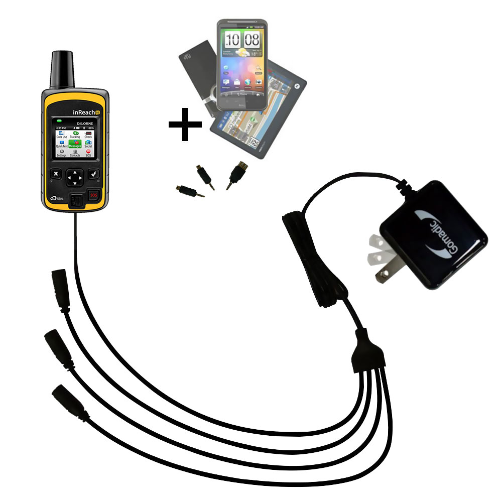 Quad output Wall Charger includes tip for the Garmin inReach Explorer+