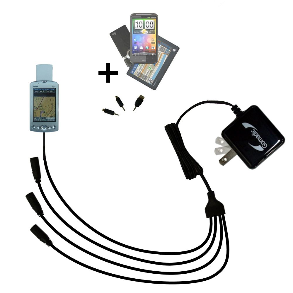 Quad output Wall Charger includes tip for the Garmin iQue 3600